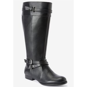 Comfortview The Janis Leather Wide Calf Boots NEW